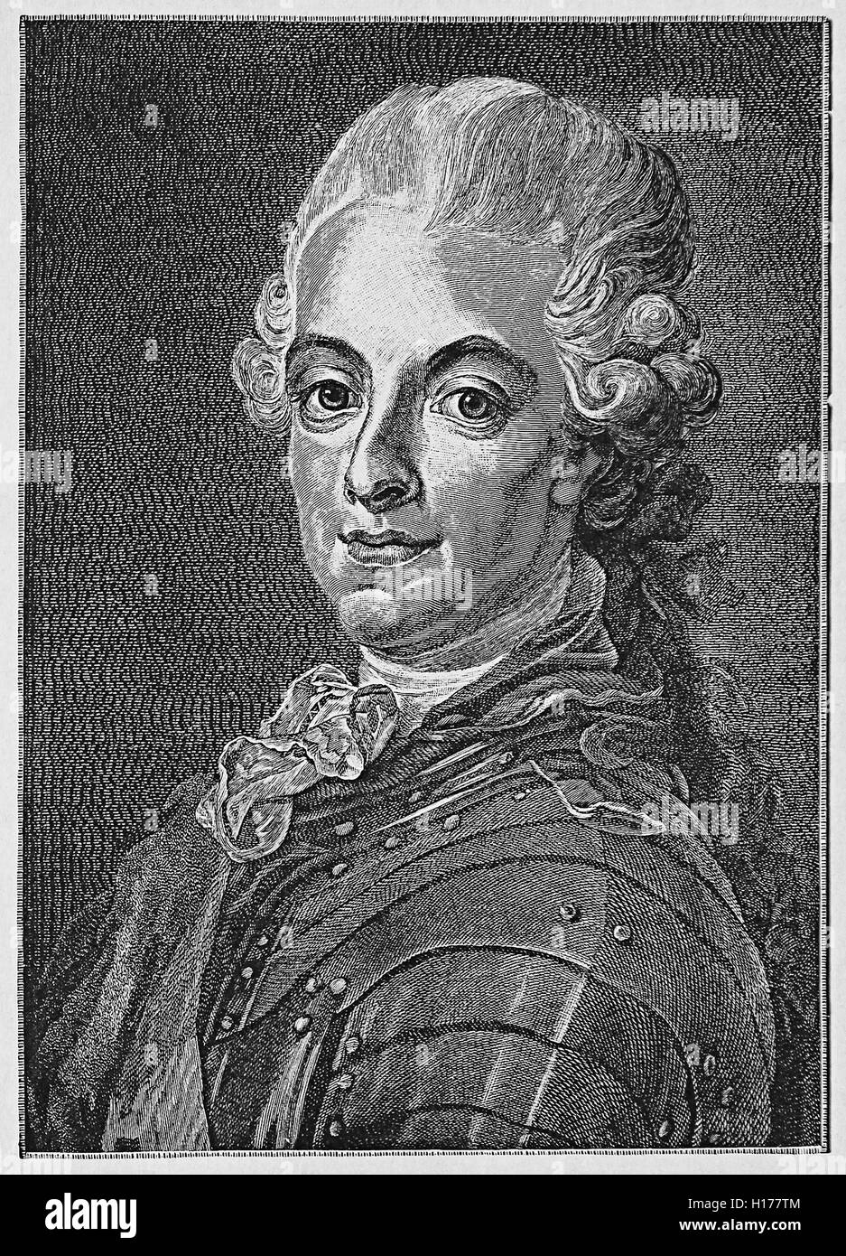 Gustav III King of Sweden reformed the state with the Enlightenment ideas aiming at an economic liberalism. He was - Stock Image