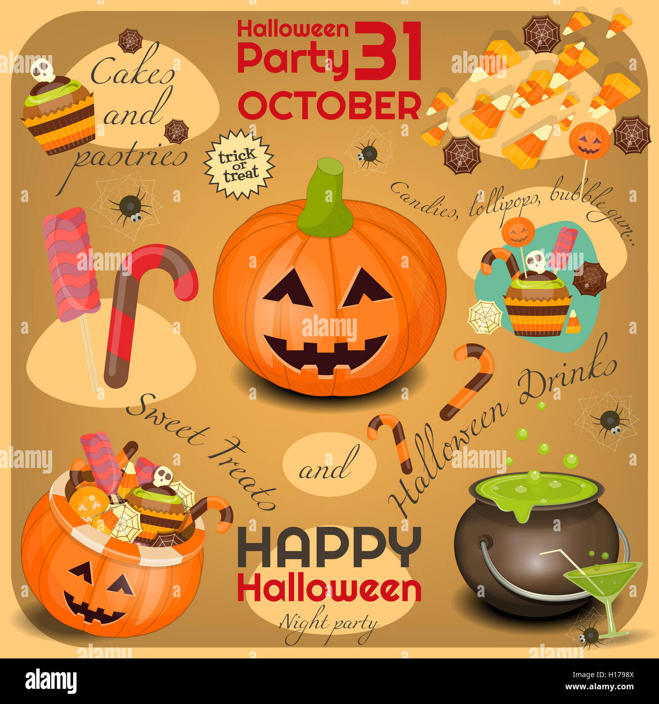 Halloween Poster - Symbols and Signs of October Halloween. Sweet Treats and Jack-o-lantern. Invitation Card for Stock Photo