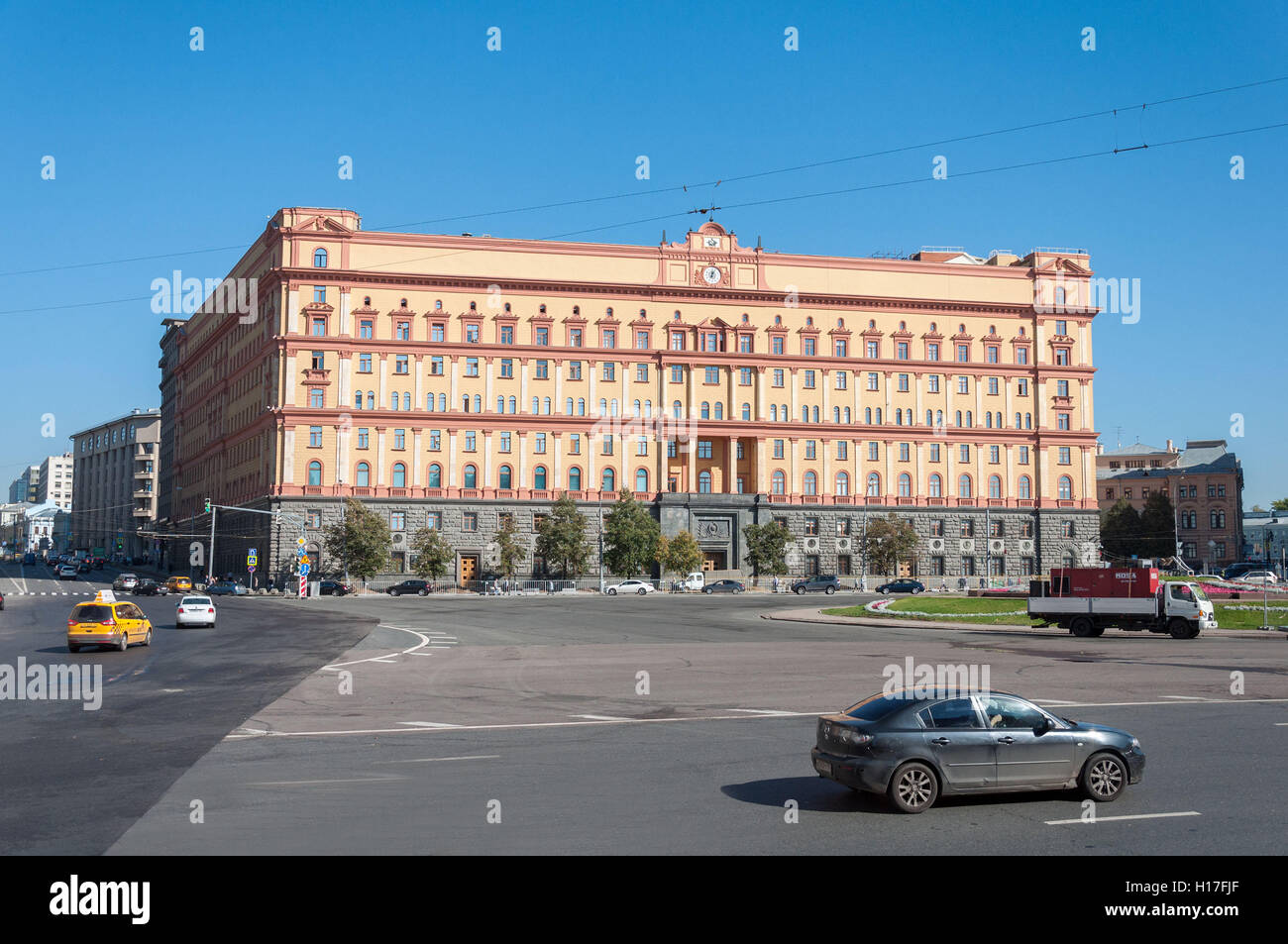 MOSCOW, RUSSIA - 21.09.2015. Lubyanka square.  building of the FSB of Russia - Stock Image