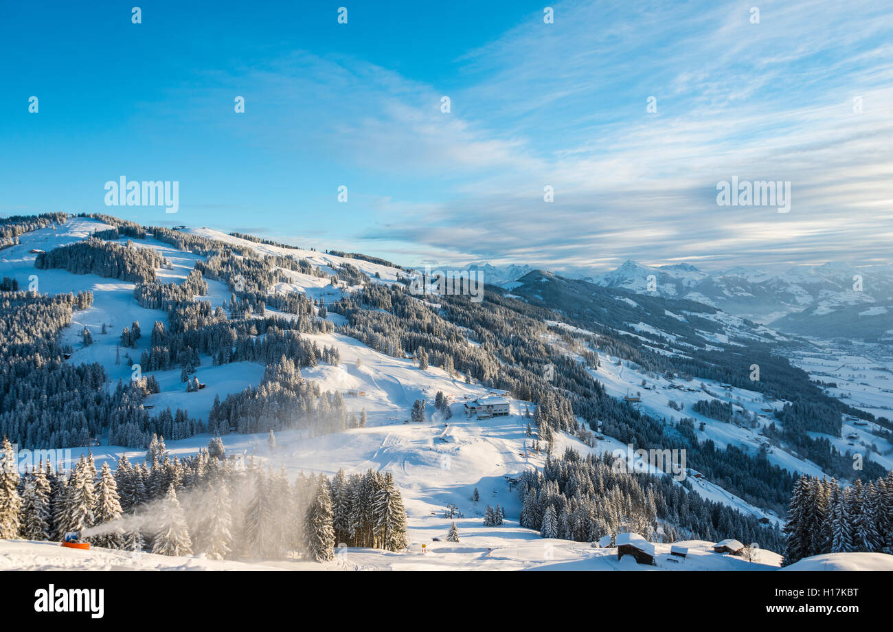 Ski resort with view of Alps, Brixen im Thale, Tyrol, Austria - Stock Image