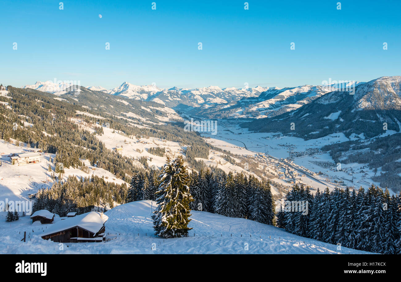 View of Alps and Inn Valley, ski resort, Brixen im Thale, Tyrol, Austria - Stock Image