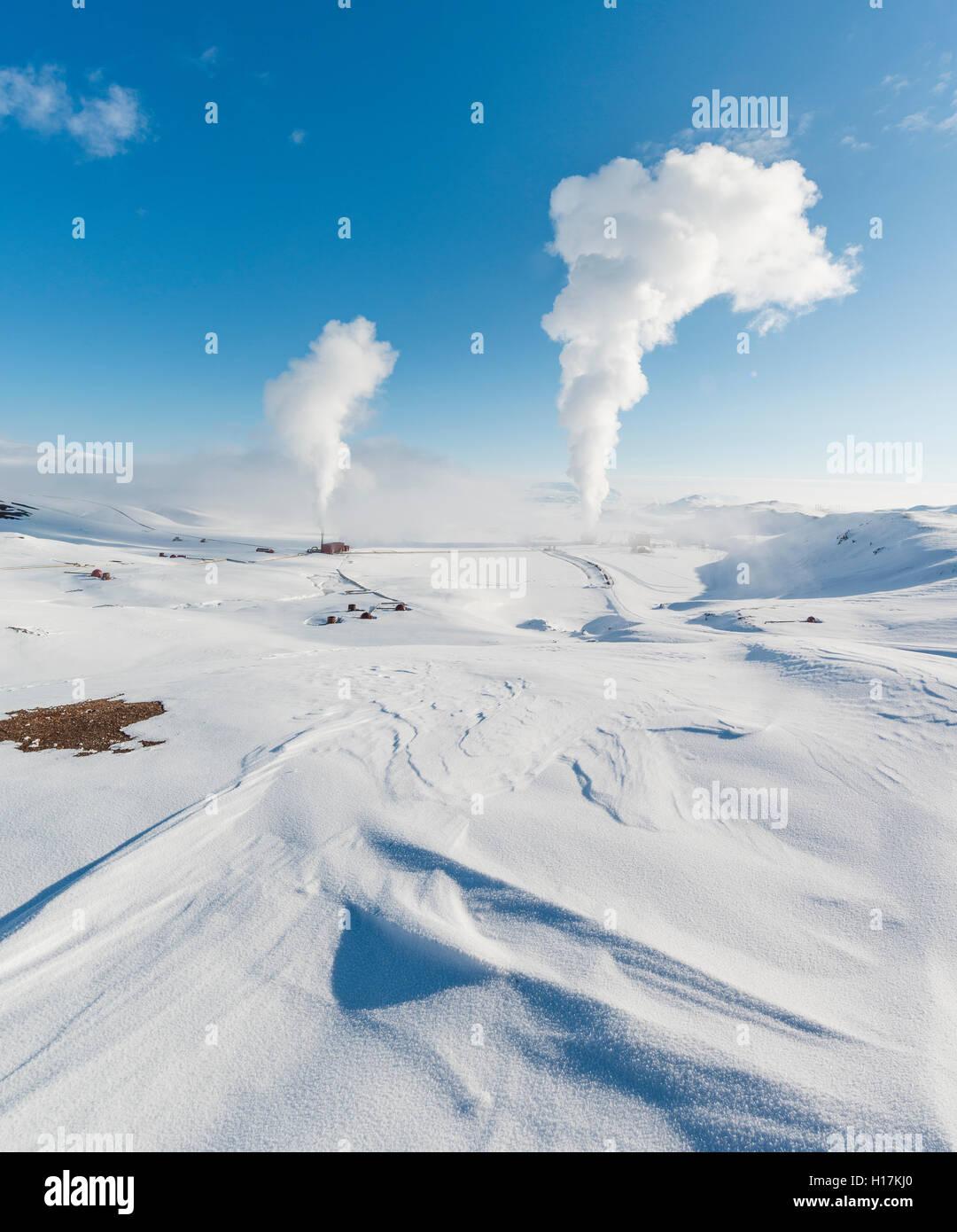 Rising steam, Hverarönd, also Hverir or Namaskard, geothermal area, North Iceland, Iceland - Stock Image