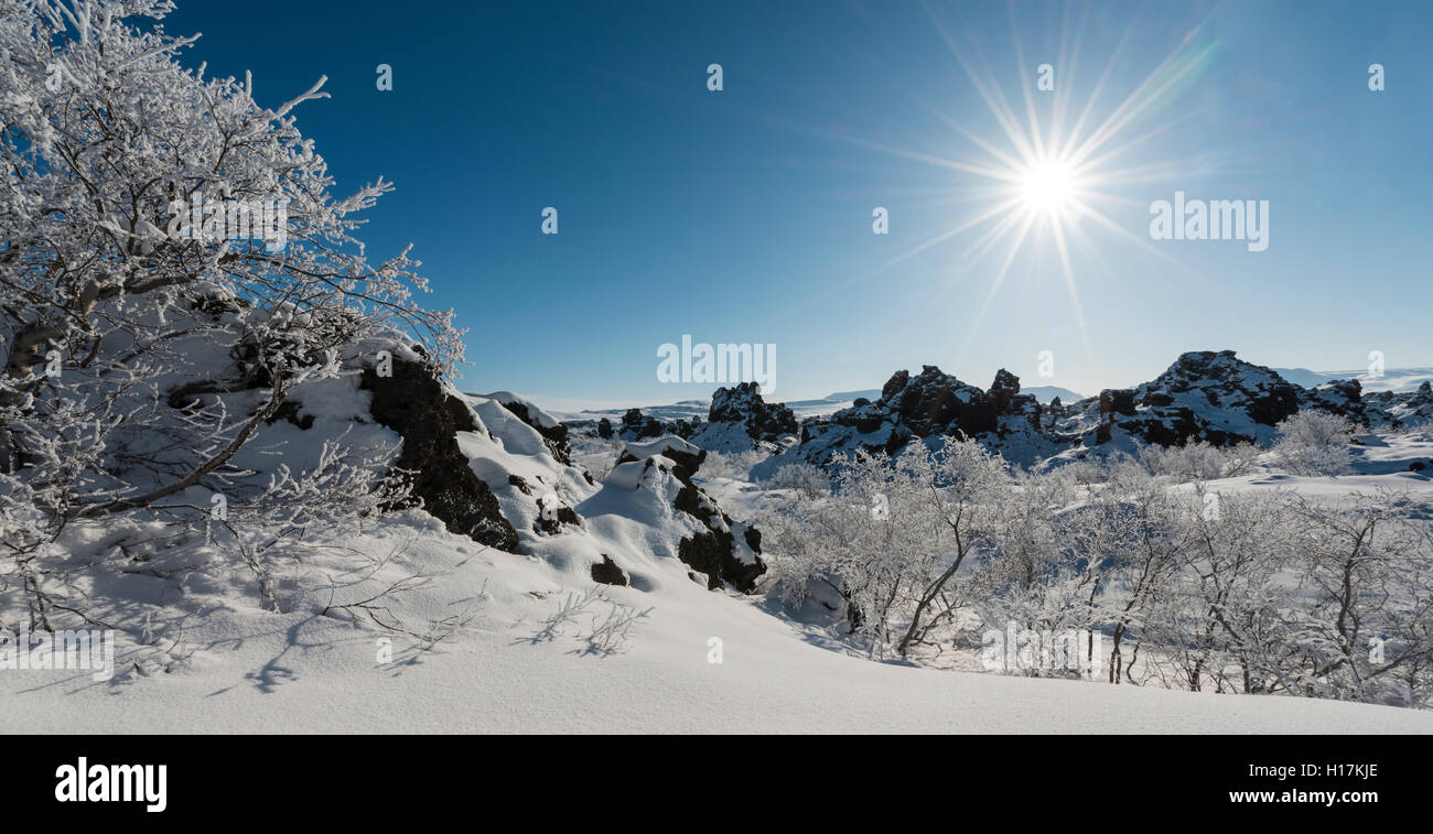 Sunshine, snowy landscape, lava field covered in snow, Krafla volcanic system, Dimmuborgir National Park, Mývatn, - Stock Image