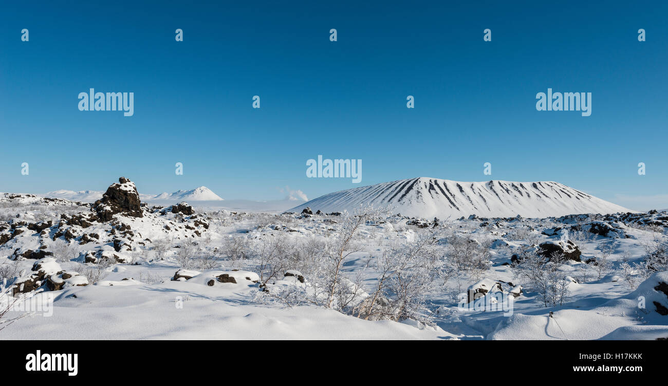 Snowy landscape, lava field covered in snow, Krafla volcanic system, Dimmuborgir National Park, Mývatn, Iceland - Stock Image