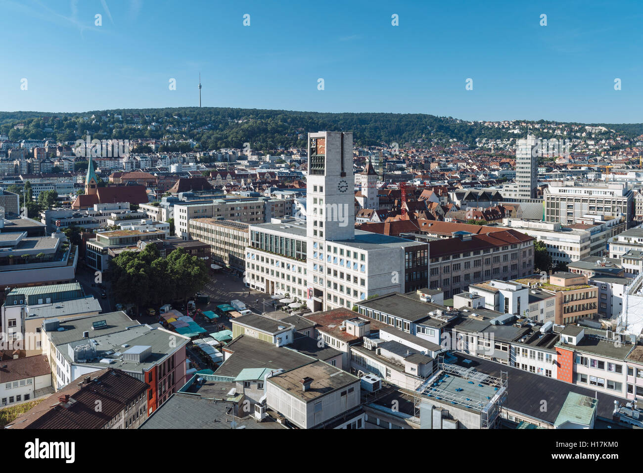 View of city, city hall and market square, Stuttgart, Baden-Württemberg, Germany - Stock Image