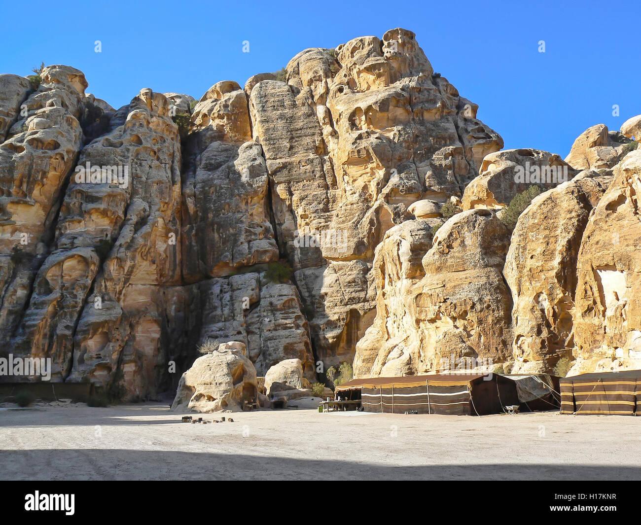 Bedouin camp for tourists, Mountains of Petra, Jordan - Stock Image