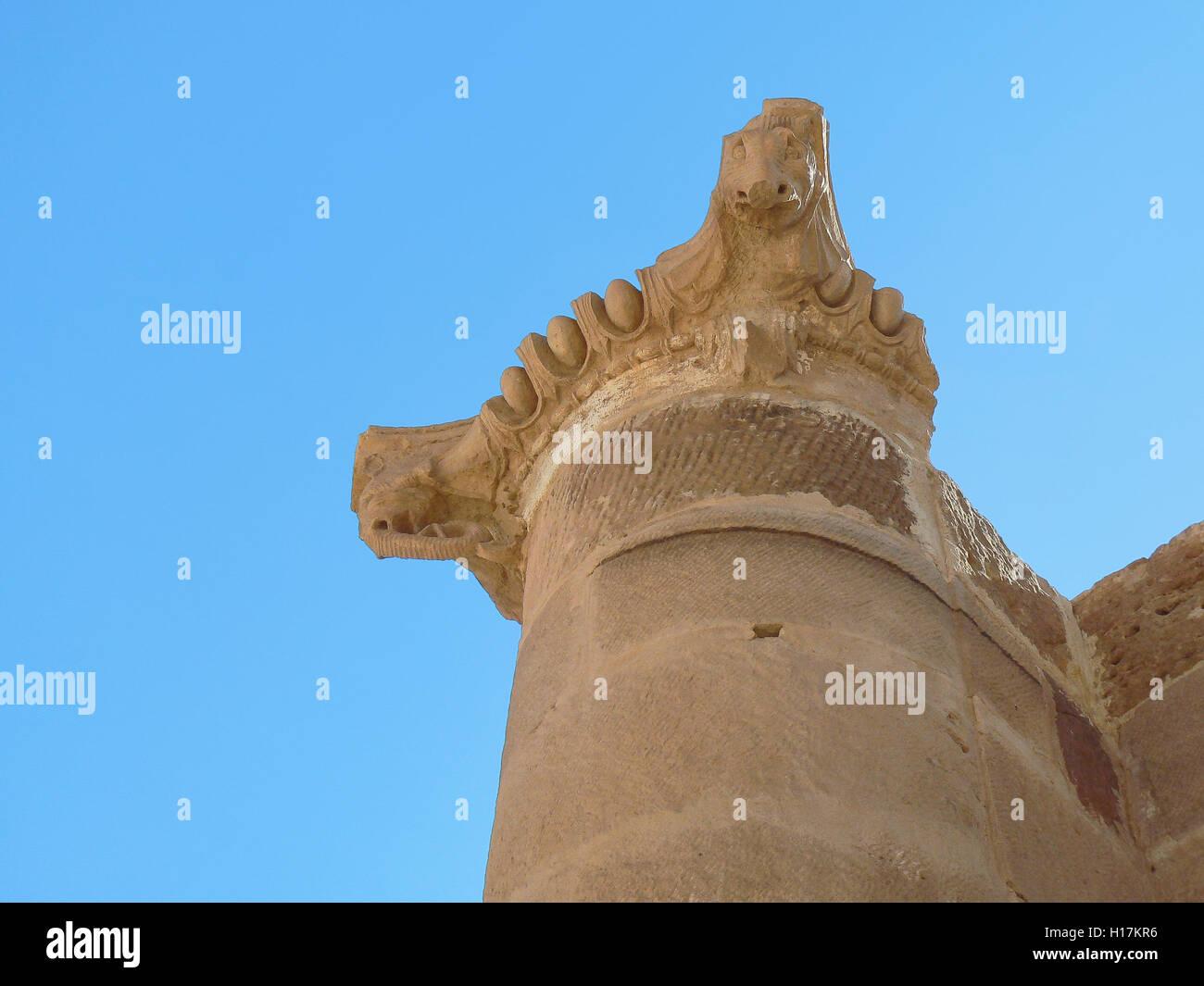 Elephant head of the Roman temple of Petra, Jordan - Stock Image