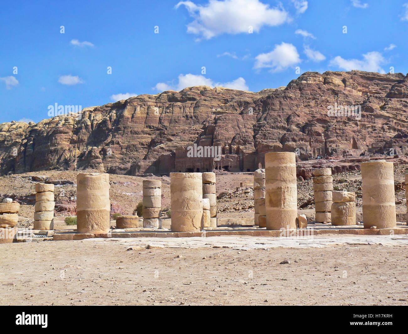Roman temple at Petra, Jordan - Stock Image