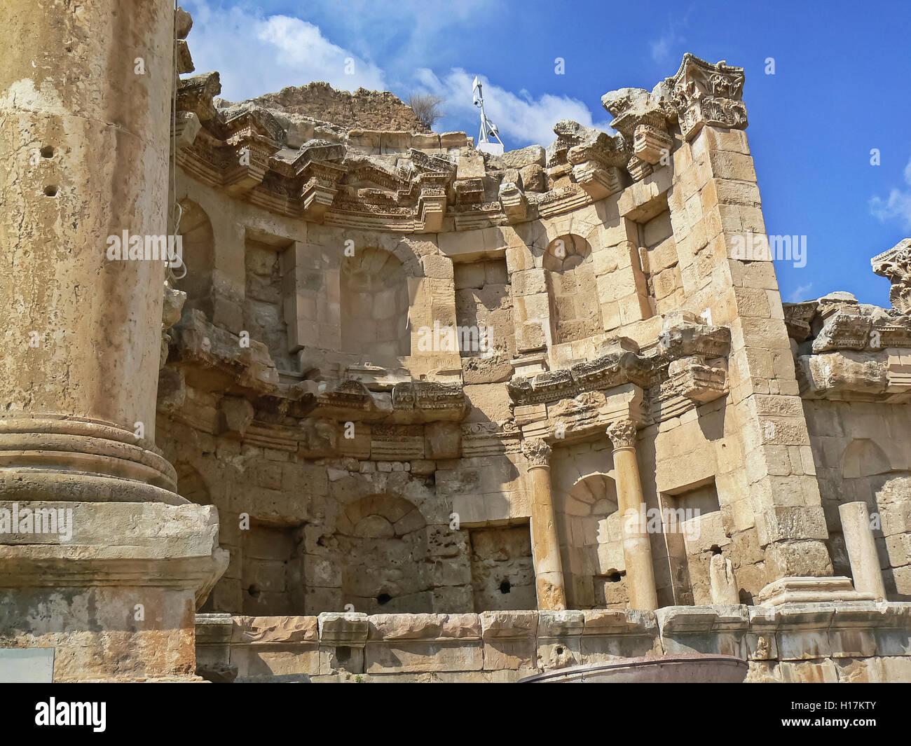 the Nymphaeum, Roman site at Jerash, Jordan - Stock Image
