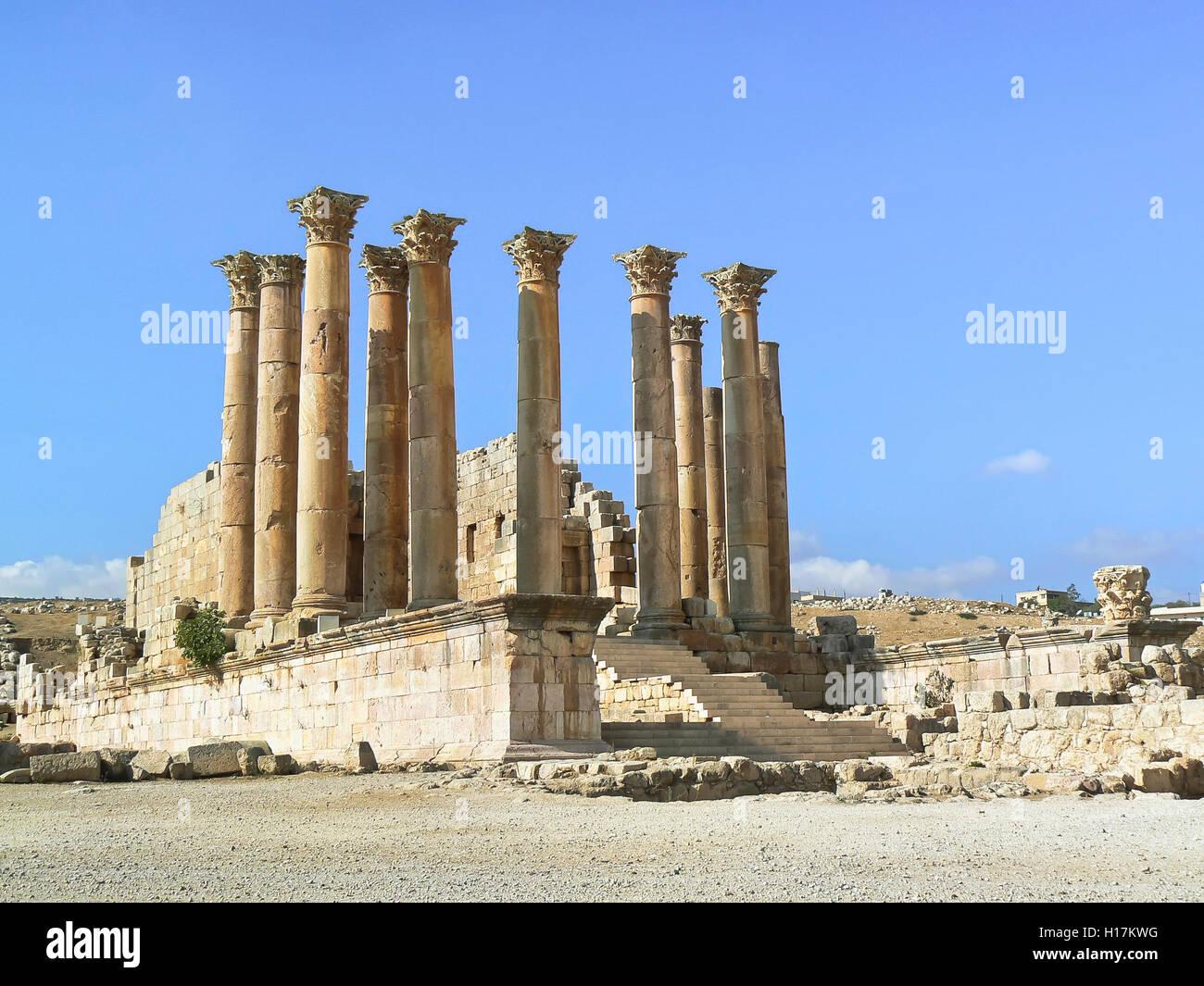 Cella of the Artemis temple, Roman temples at Jerash, Jordan - Stock Image