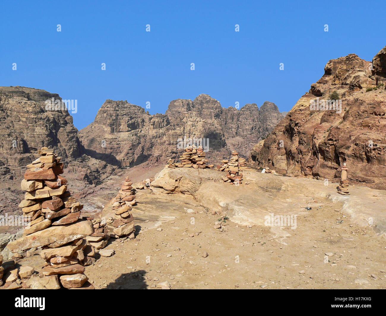mountain landscape at Petra, Jordan - Stock Image