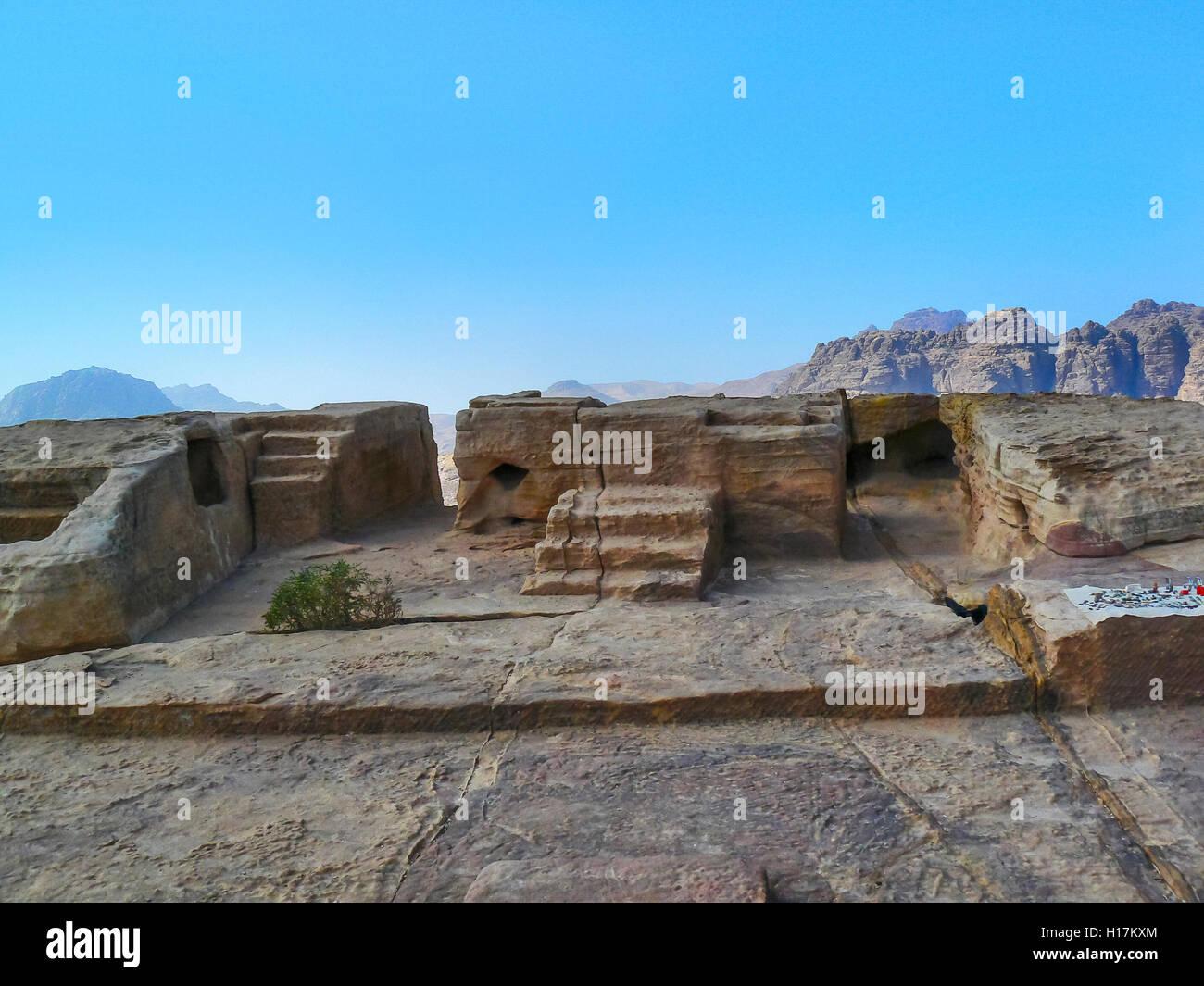 sacrificial altar, ancient cult site at Petra, Jordan - Stock Image