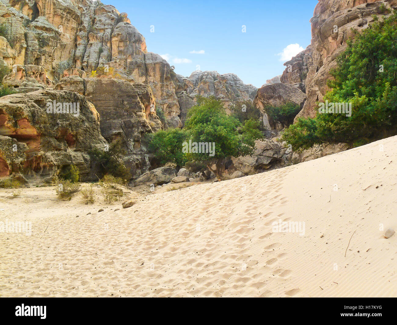 Dune between rocks of Petra, Jordan - Stock Image