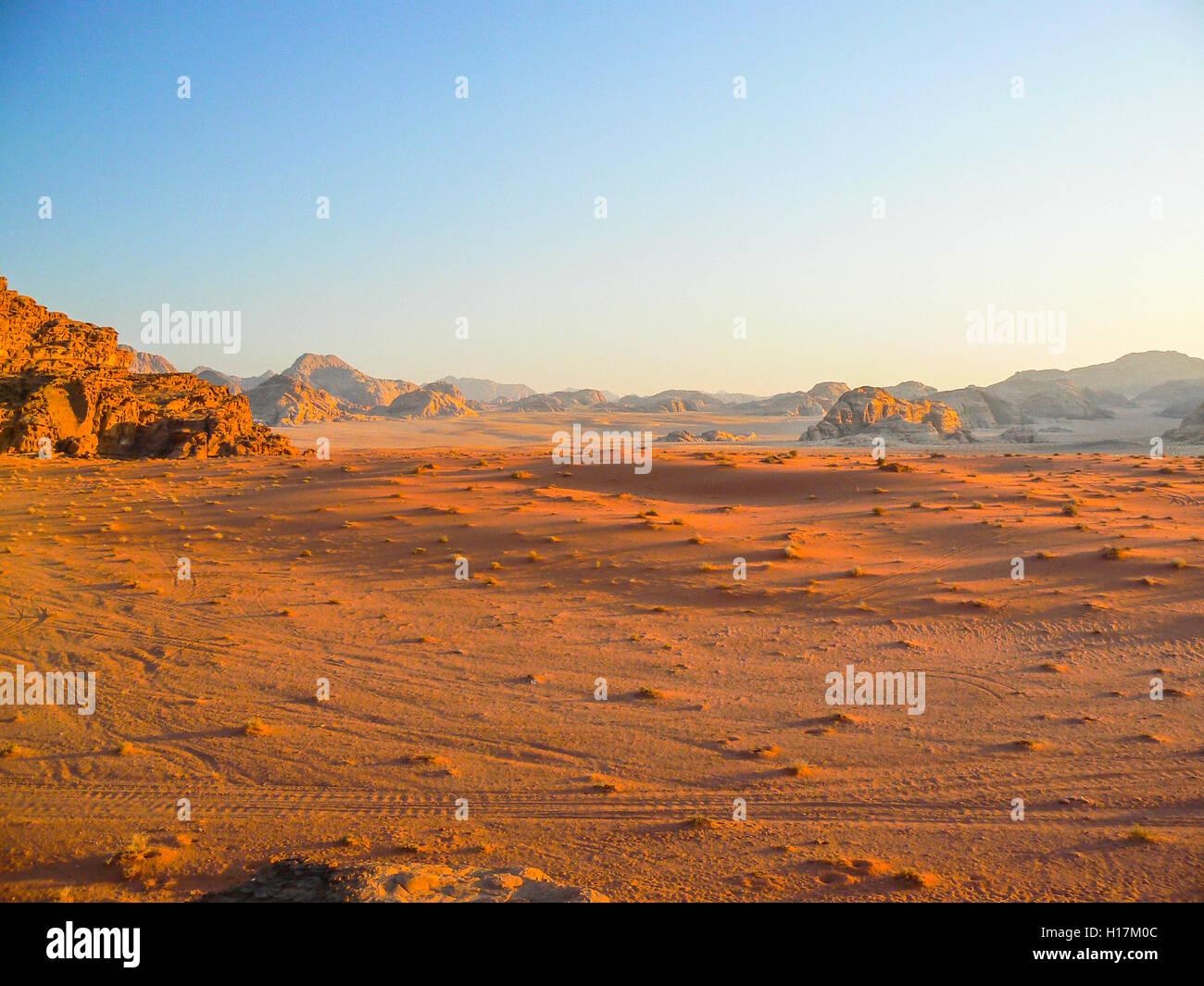 Sunset in the Desert of Wadi Rum, Jordan - Stock Image