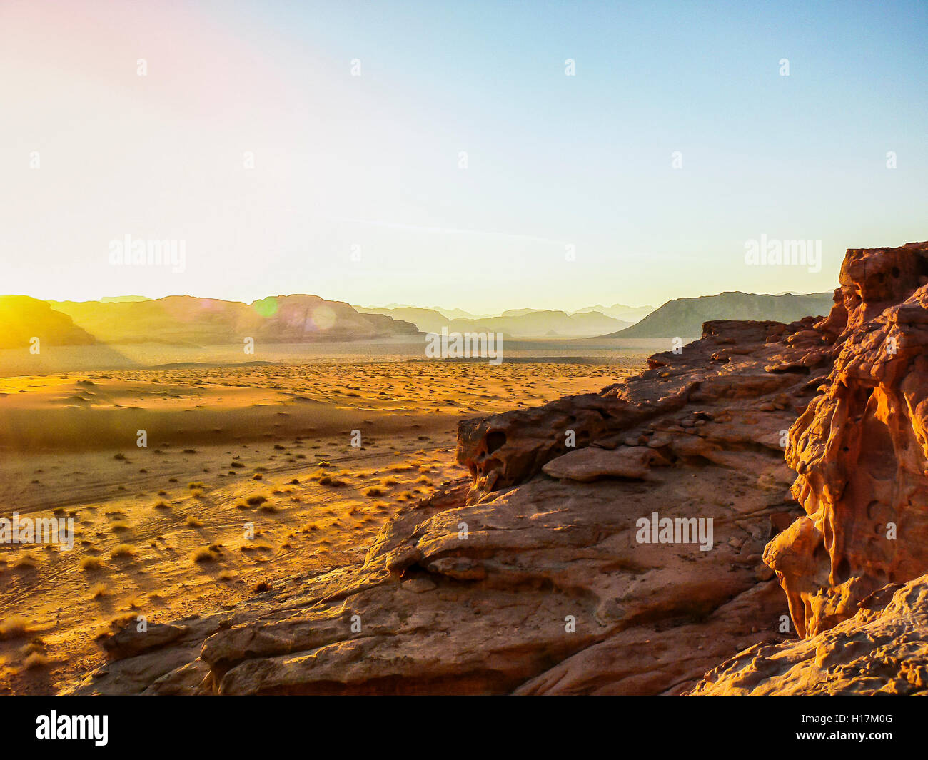 Sunset in the Desert of Wadi Rum, Jordan - Stock Image