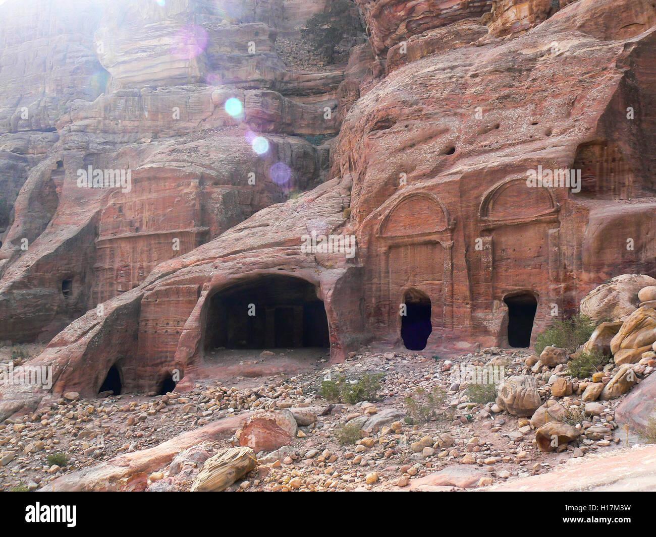 Graves of Petra in Jordan - Stock Image