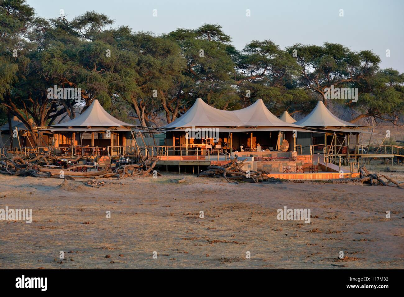 Somalisa Camp in the evening light, Hwange National Park, Matabeleland North Province, Zimbabwe Stock Photo