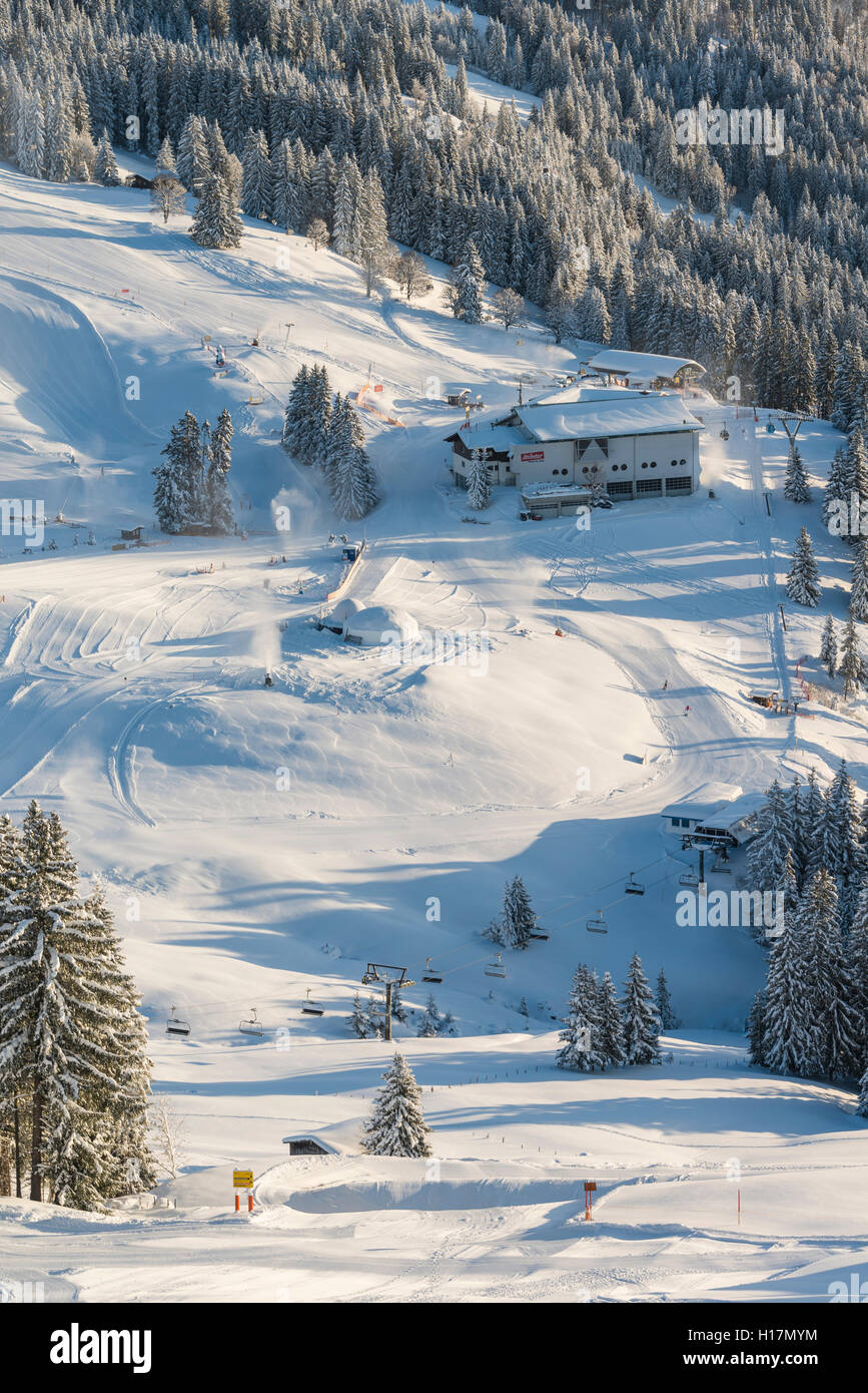 Ski resort and slopes, Brixen im Thale, Tyrol, Austria - Stock Image