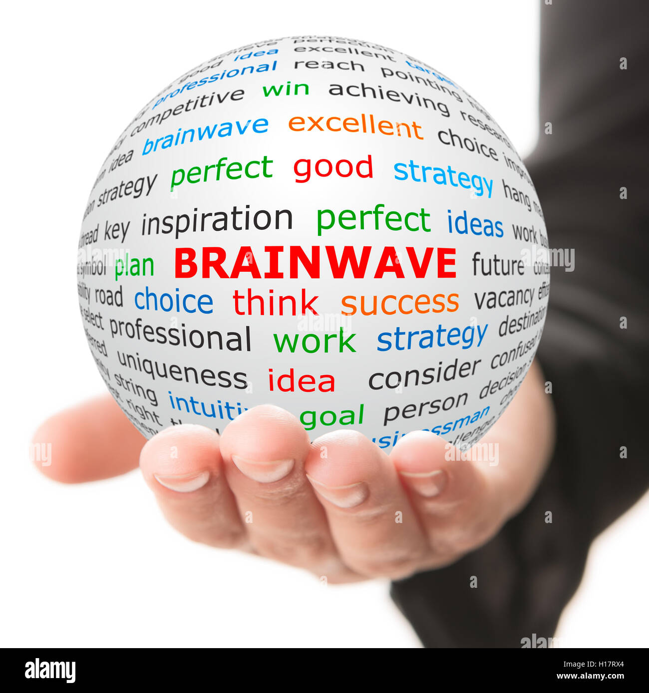 Hand take white ball with red inscription Brainwave Stock Photo