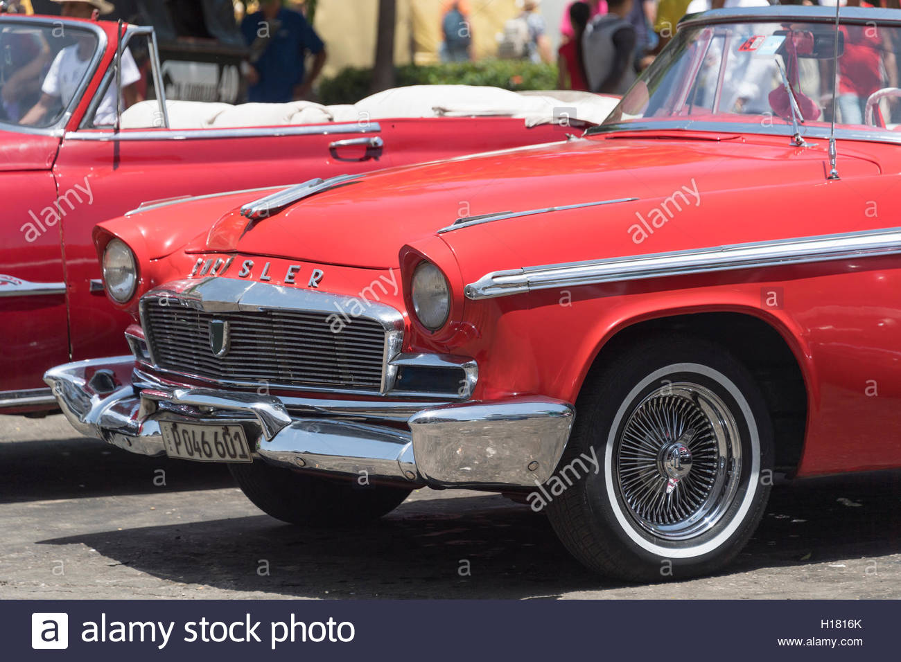 Old classic American cars working as tourist taxi in Old Havana. The ...