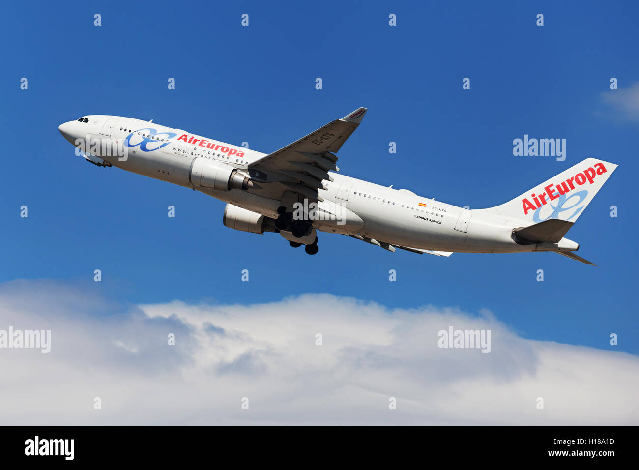 Air Europa Airbus A330-200 taking off from El Prat Airport in Barcelona, Spain. - Stock Image