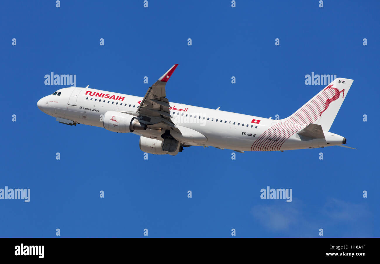 Tunisair Airbus A320-200 taking off from El Prat Airport in Barcelona, Spain. - Stock Image