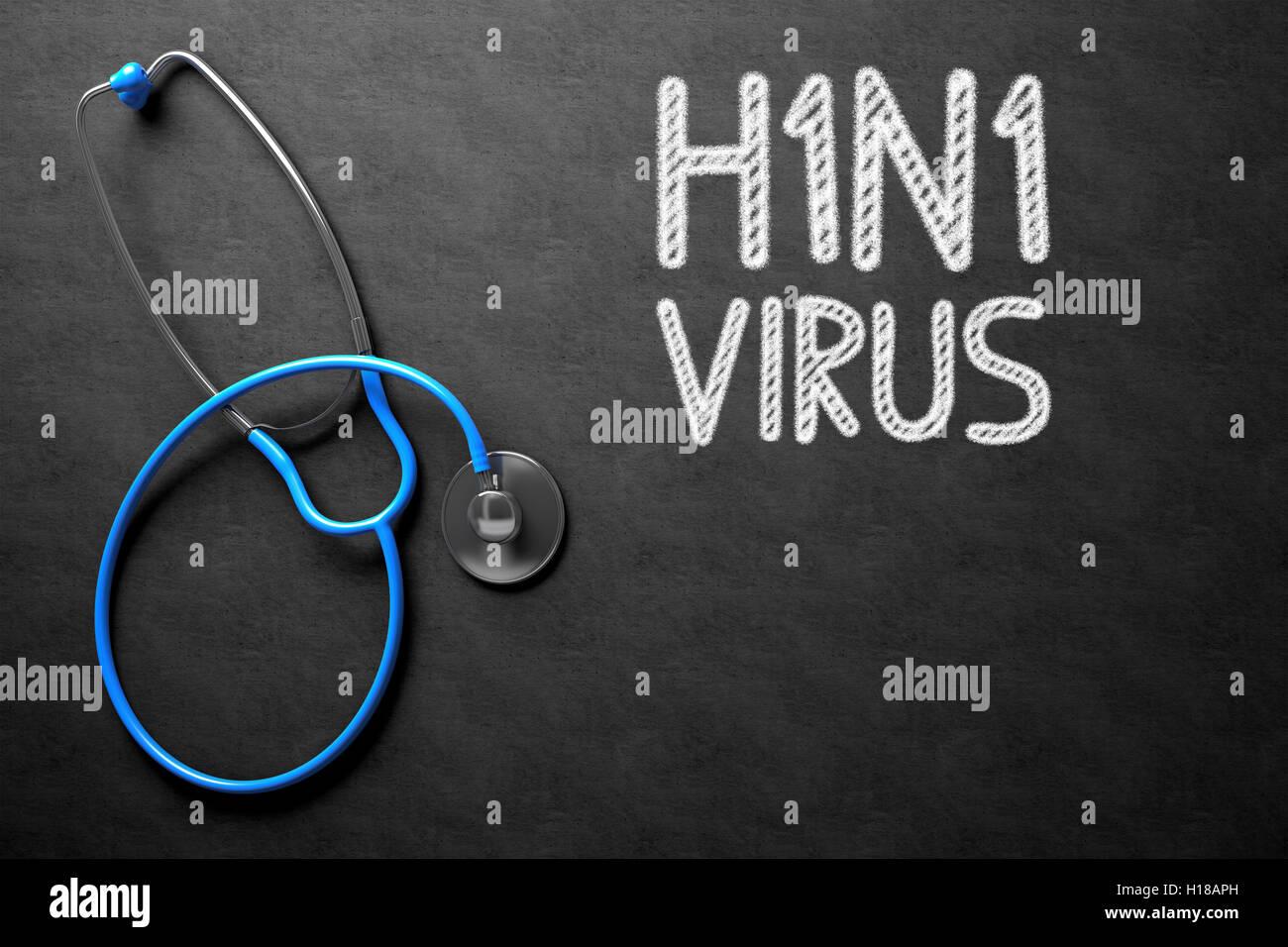 H1N1 - Text on Chalkboard. 3D Illustration. - Stock Image