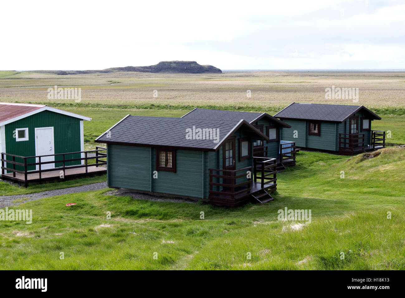 summer tourist chalet camping accommodation in southern iceland - Stock Image