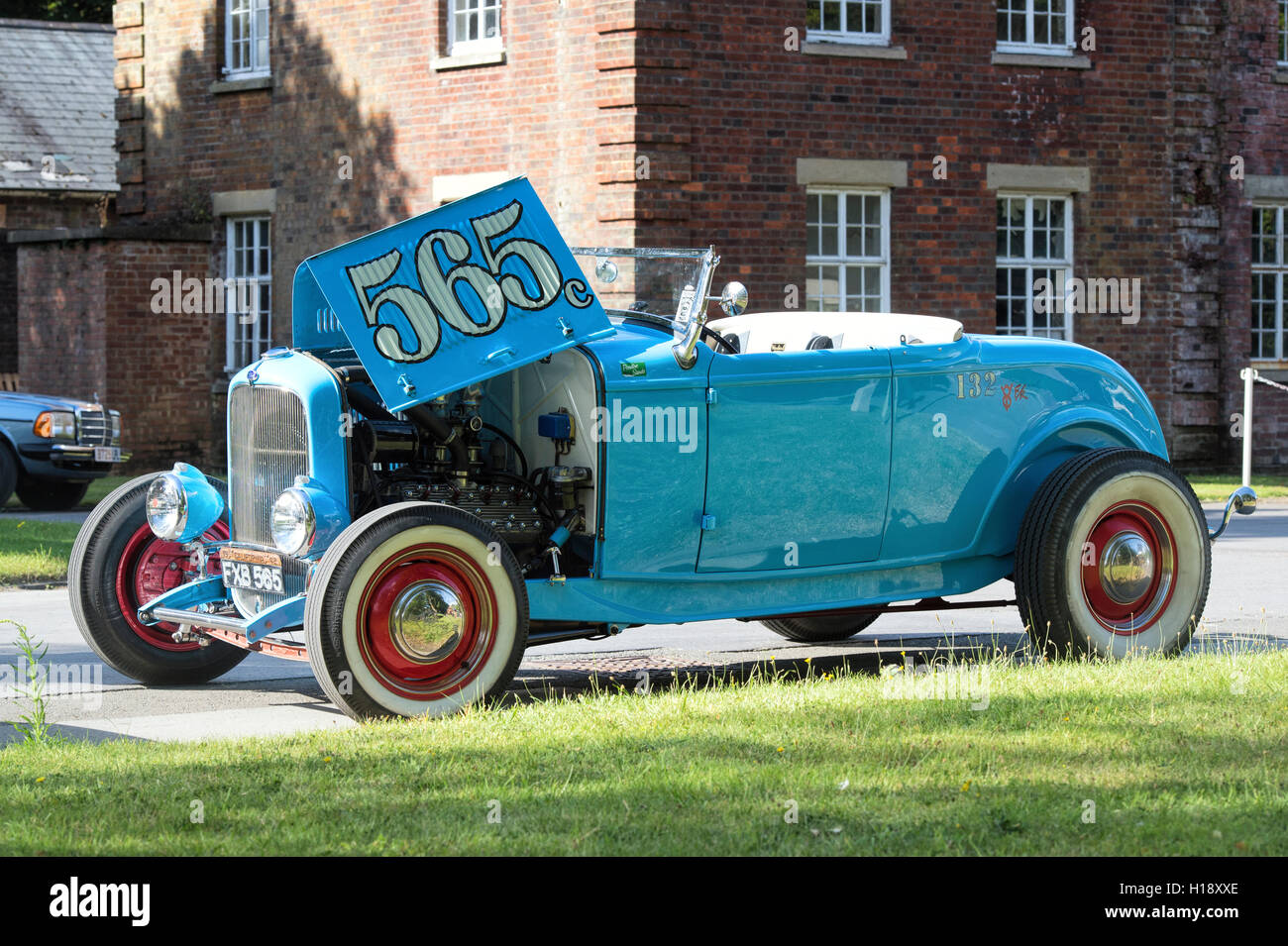 Blue Ford Custom Hot Rod Coupe car at Bicester Heritage centre Stock ...