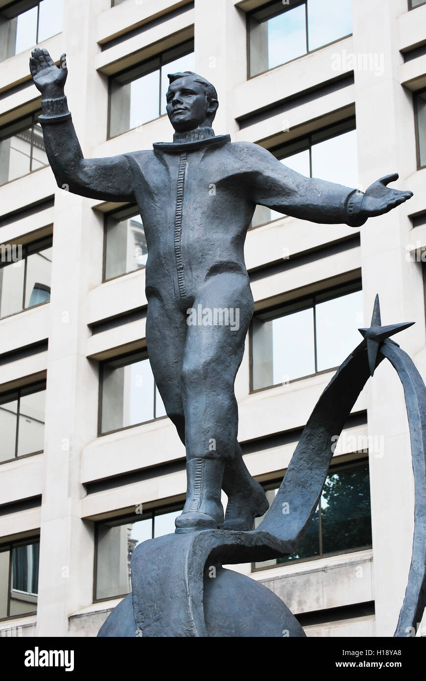 LONDON - AUG 4TH 2012: A statue of Yuri Gagarin in London. Gagarin was a Soviet pilot and cosmonaut and the first - Stock Image
