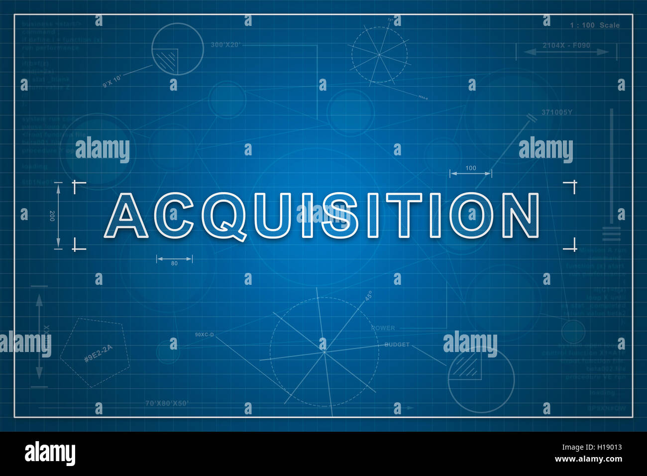 Acquisition on paper blueprint background, business concept - Stock Image