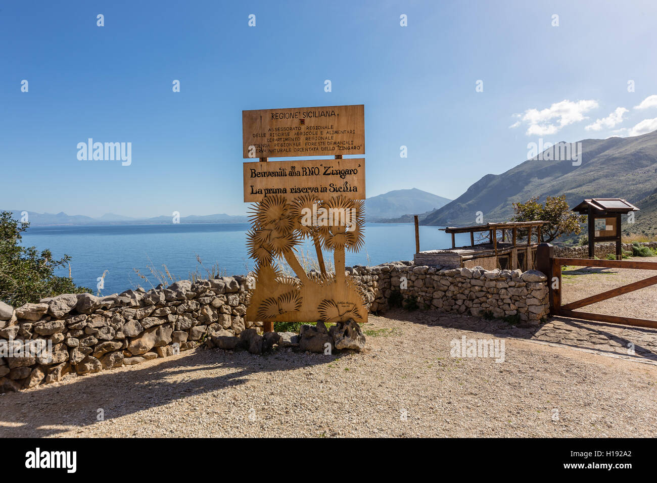 The main entrance in the Zingaro natural reserve in the Province of Trapani, Sicily - Stock Image
