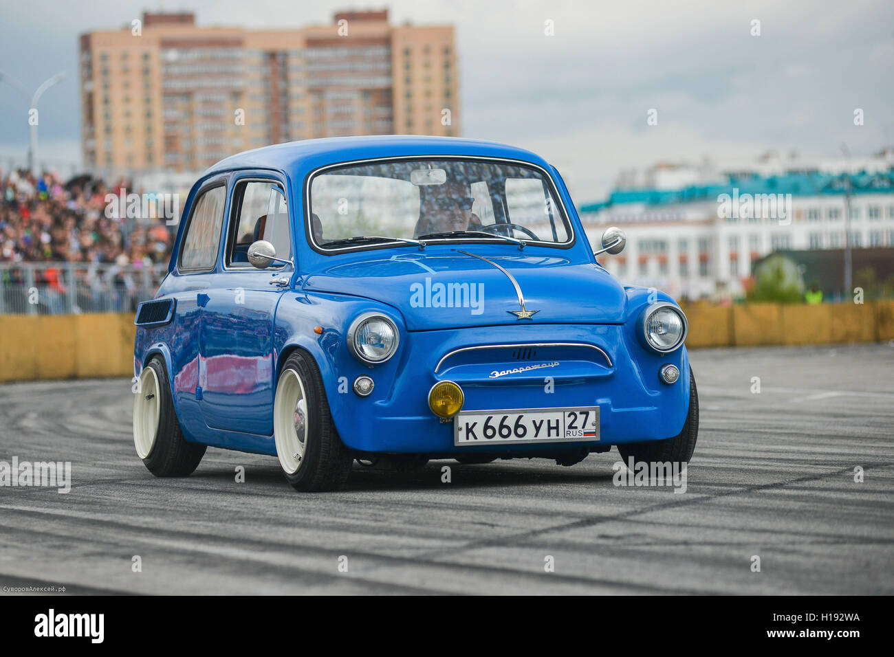 Vintage restored and tuned blue ZAZ-965 Zaporozhets car