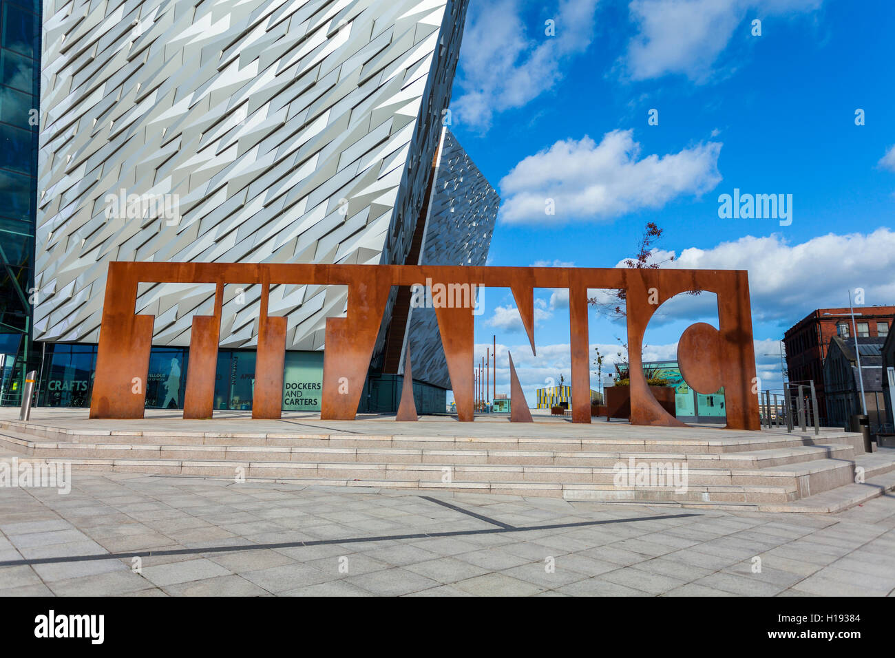 Metal Titanic sign at the Titanic Building, Belfast Stock Photo