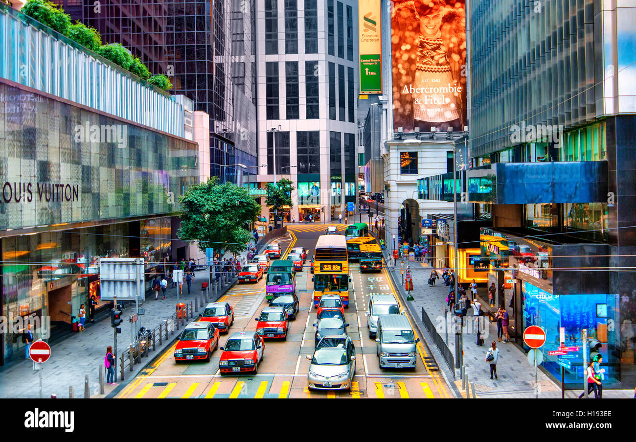 Des Voeux road in Central disctrict, Hong Kong - Stock Image