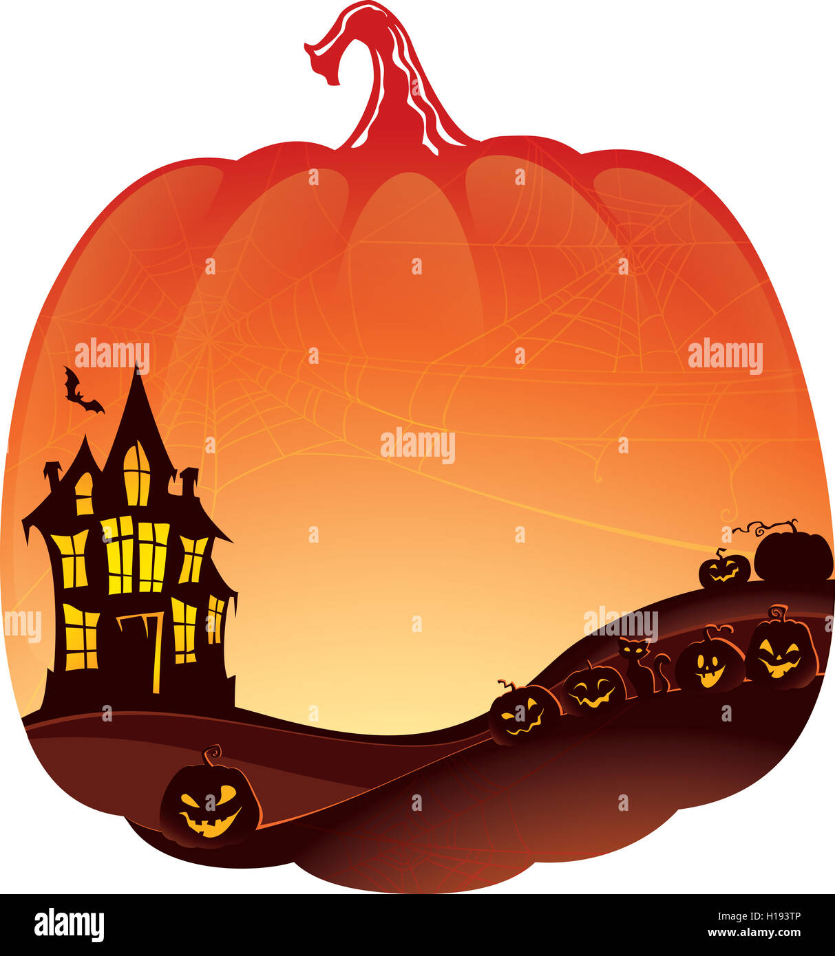 halloween double exposure background with haunted house and pumpkins