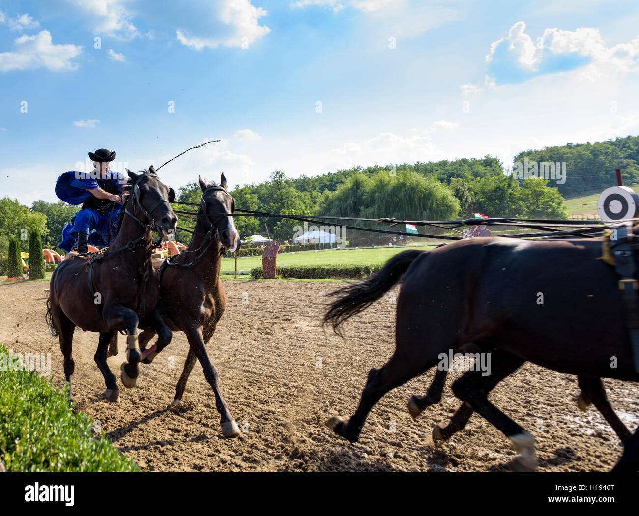 Hungarian Horsemen of the Puszta. Known as csikós or cowboys. - Stock Image