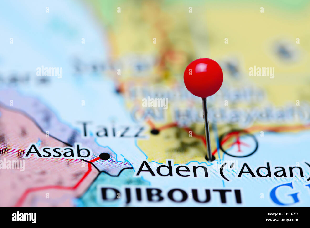 Aden pinned on a map of Yemen - Stock Image