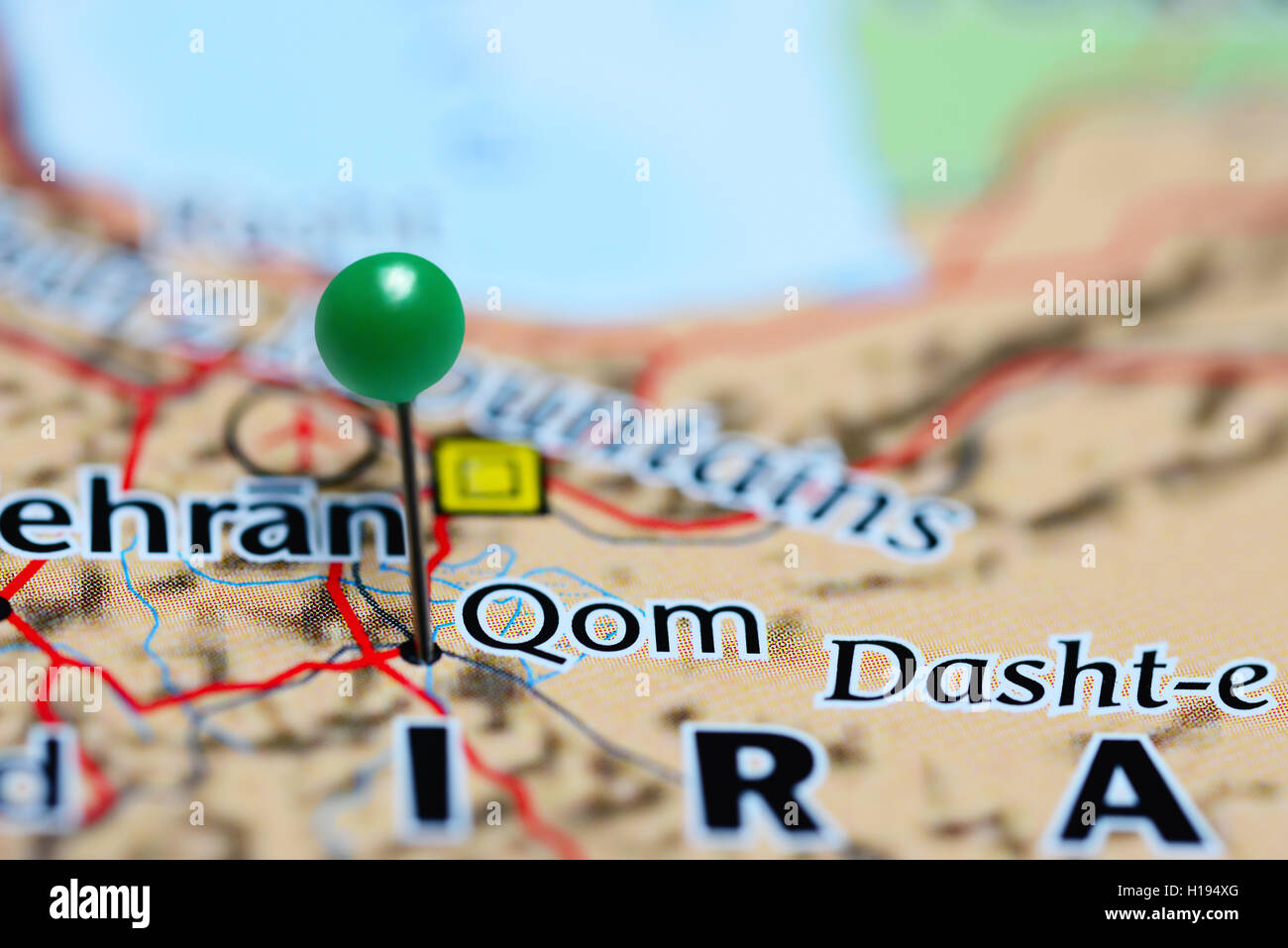 Qom pinned on a map of Iran