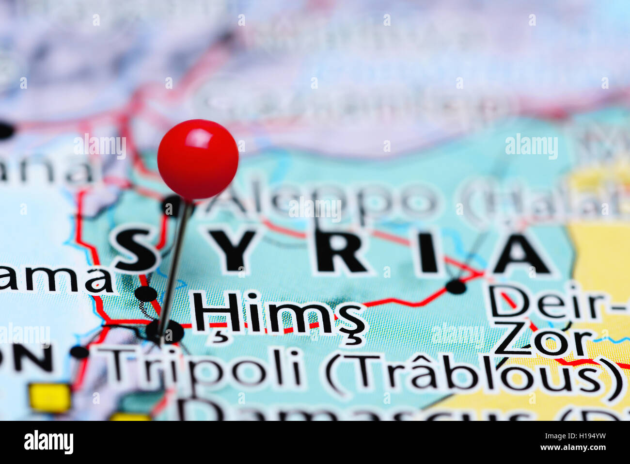 Hims pinned on a map of Syria - Stock Image