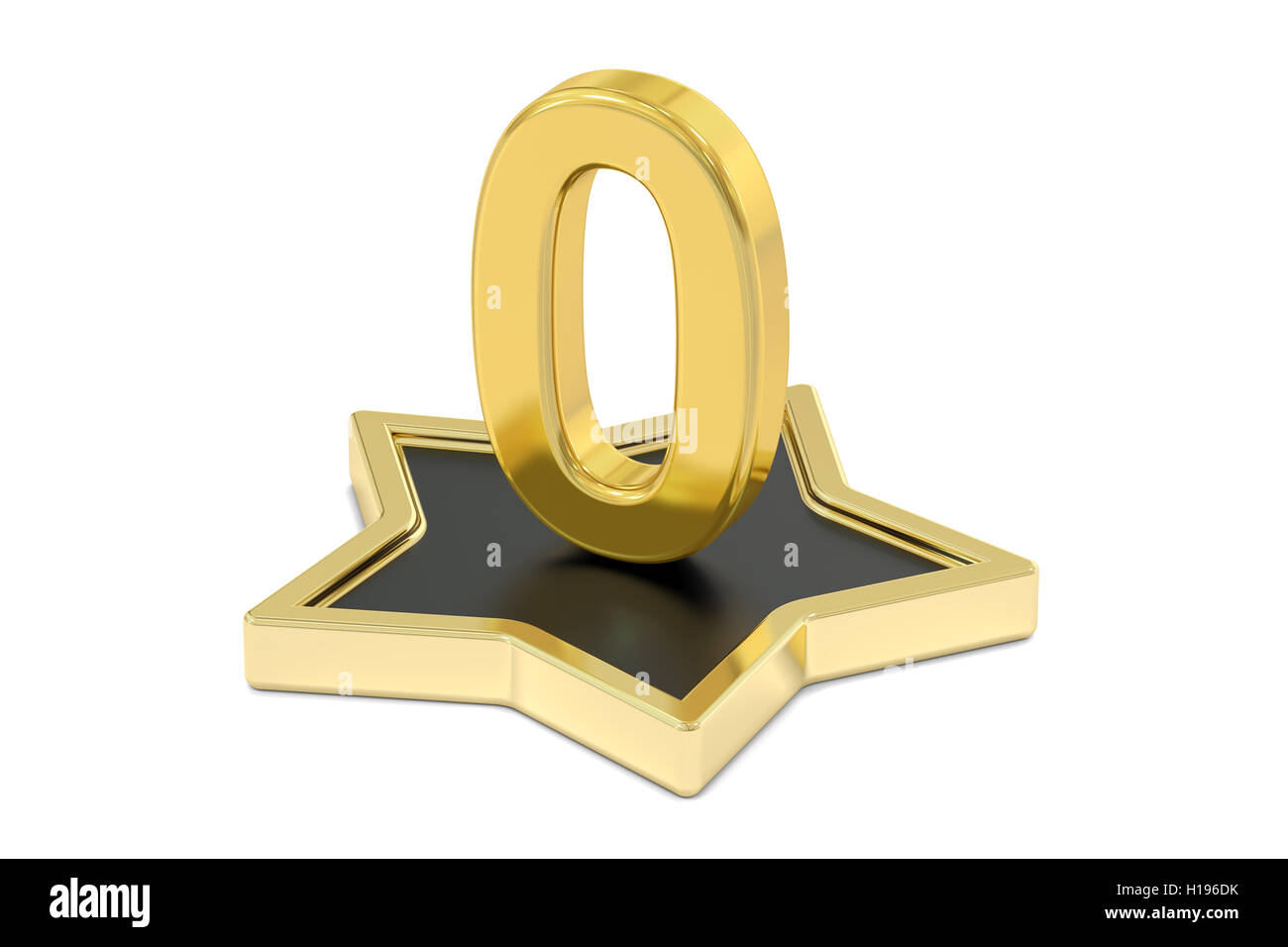 3D golden number 0 on star podium, 3D rendering isolated on white background Stock Photo