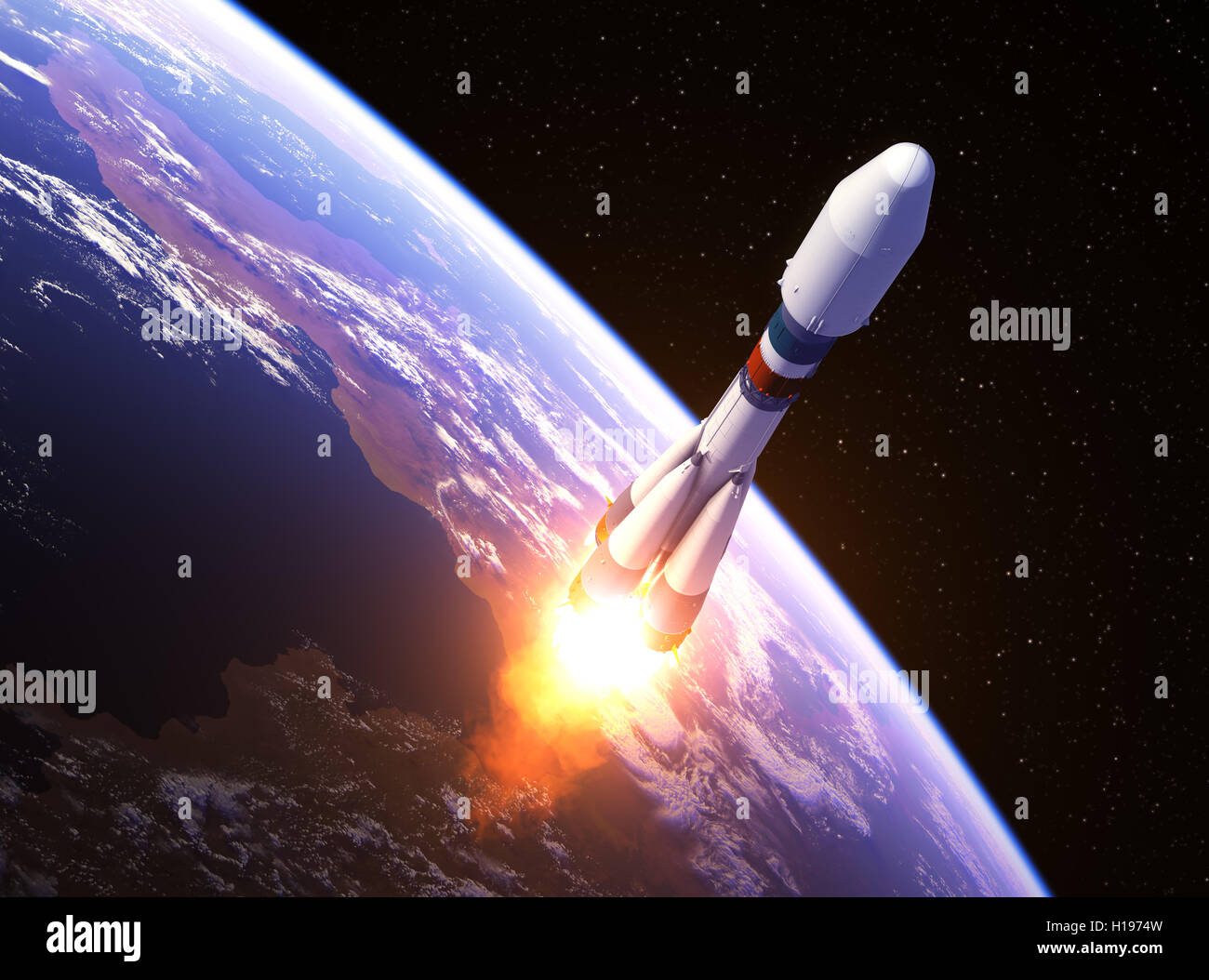 Heavy Carrier Rocket Launch In Space. 3D Illustration. - Stock Image