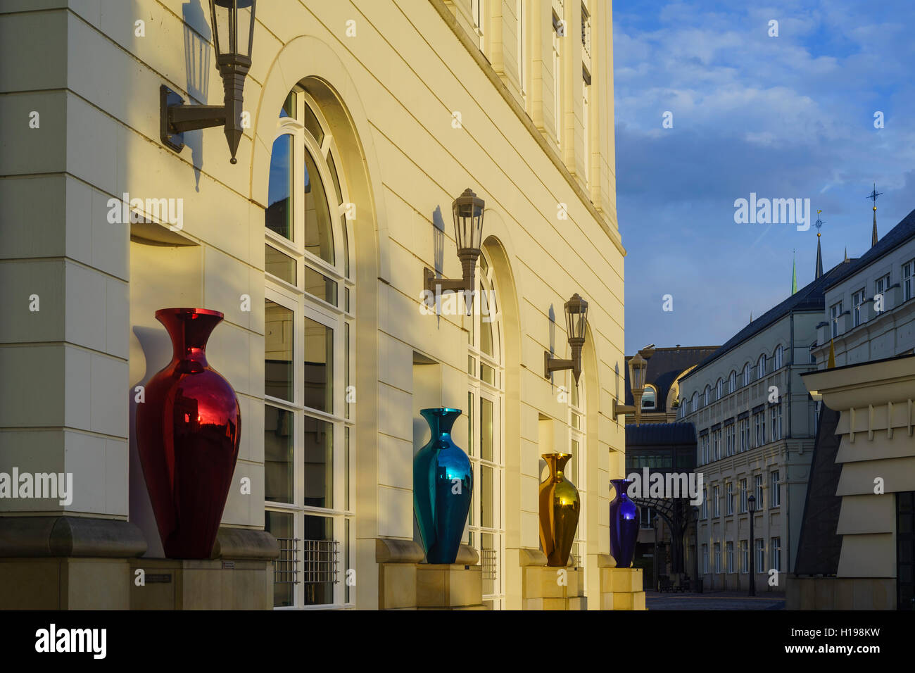 The beautiful plaza around Cite Judiciaire Luxembourg at sun rise - Stock Image