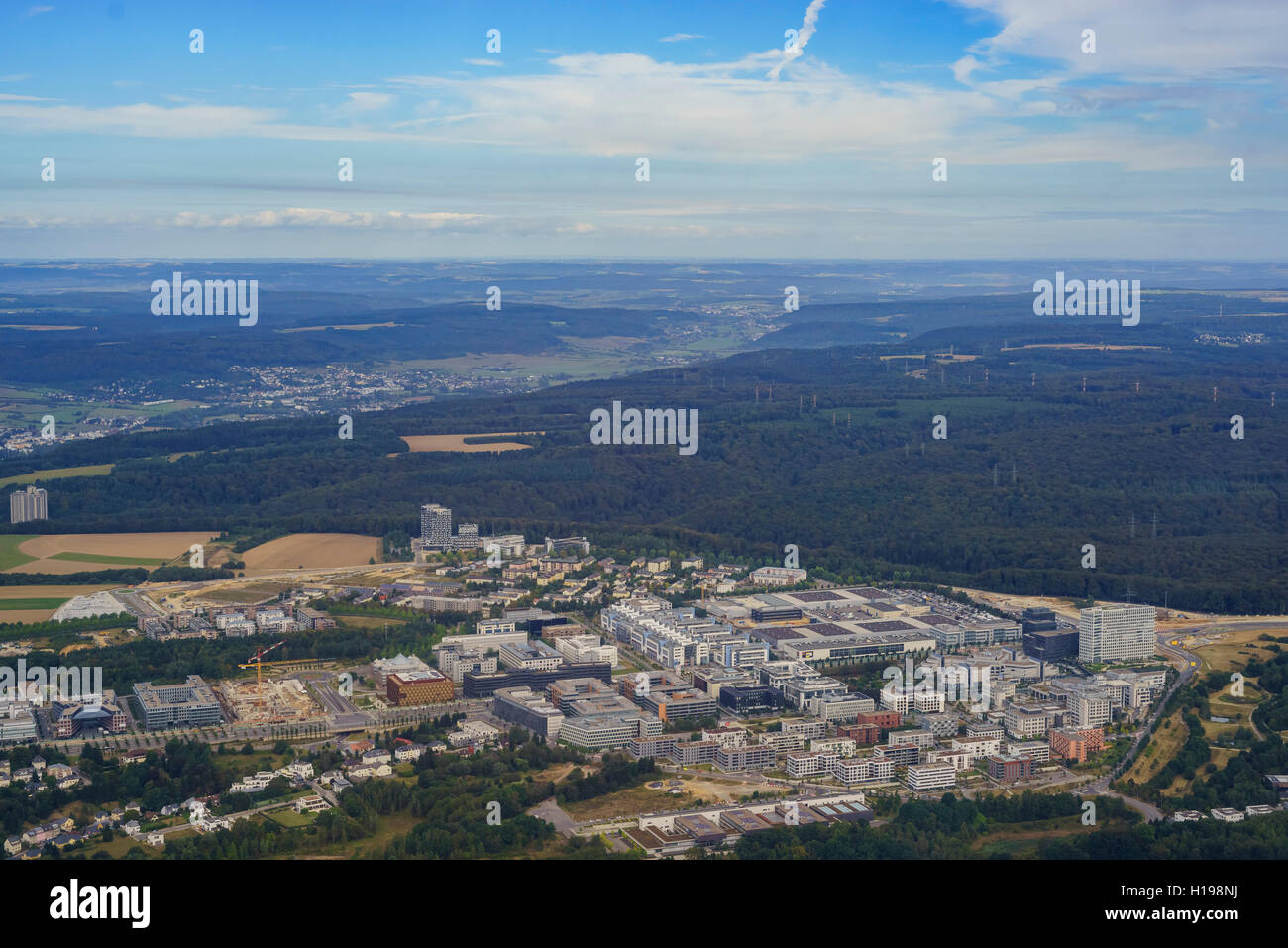 Aerial view of the Kirchberg city, Luxembourg - Stock Image