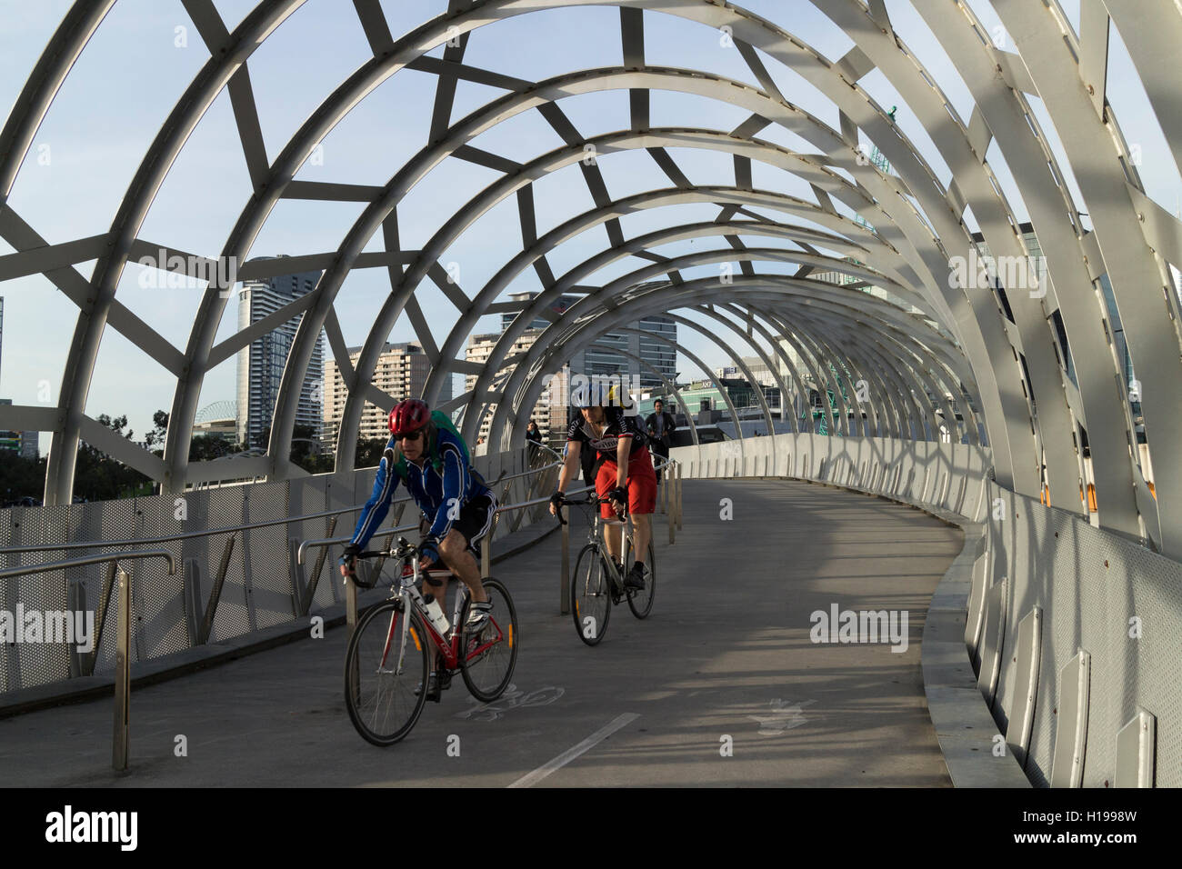 The Webb Bridge a competition-winning design for a  pedestrian/cycle bridge over the Yarra river  Docklands Melbourne - Stock Image