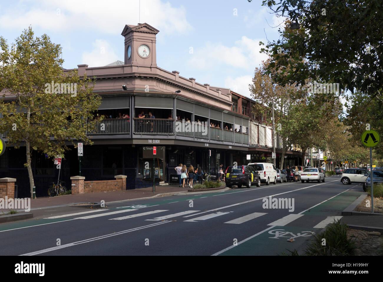 The Clock Hotel On Crown Street Surry Hills Sydney Australia Stock