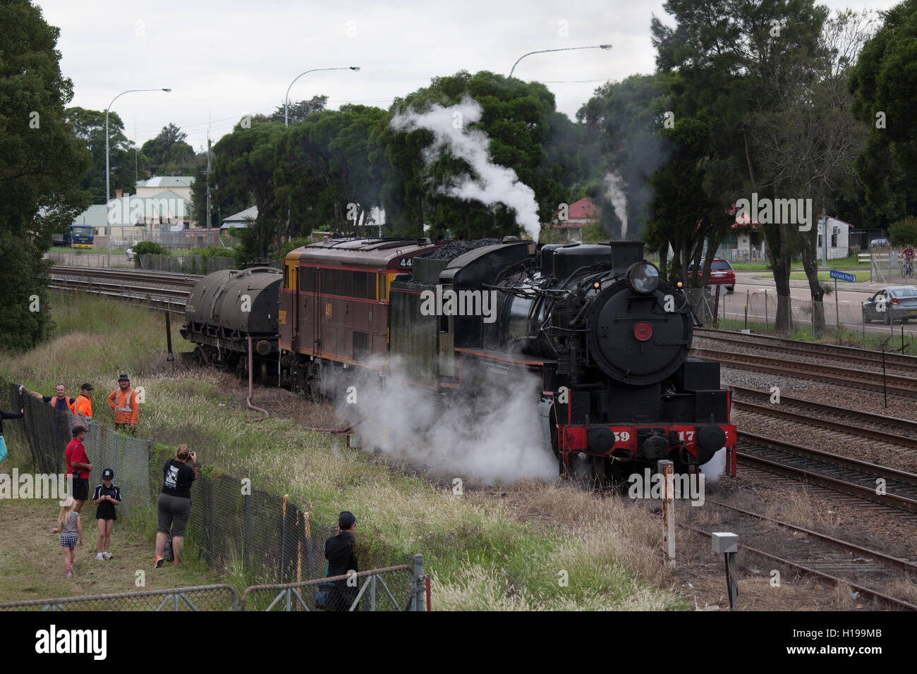 Railway Steam Locomotives on display at Maitland NSW Australia Stock Photo