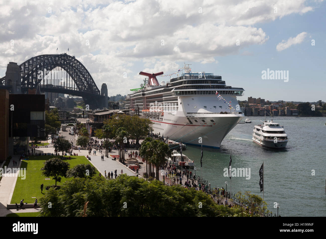 The Carnival Spirit Cruise Ship berthed at the Overseas Passenger Terminal Sydney Australia. - Stock Image