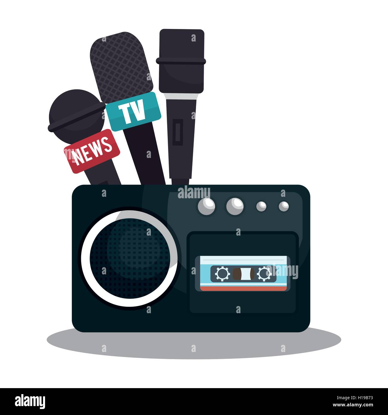 tape recorder cassette news microphone graphic - Stock Image