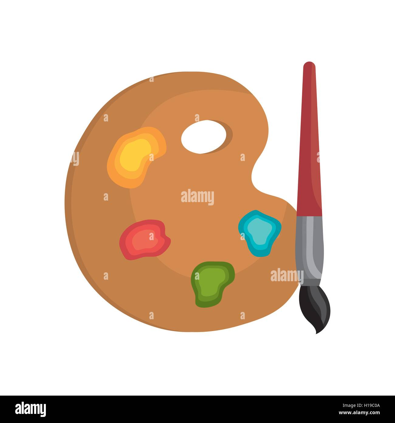 cartoon pallette paint color brush isolated graphic - Stock Vector